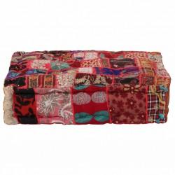 stradeXL Kwadratowy puf patchworkowy, bawełna, 50x50x12 cm, czerwony
