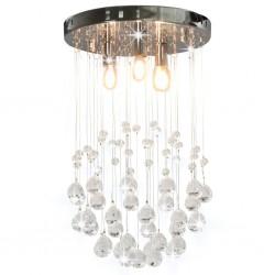 stradeXL Lampa sufitowa z kryształkami i koralikami, srebrna, 3xG9
