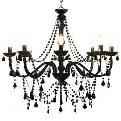 stradeXL Chandelier with Beads Black 8 x E14 Bulbs