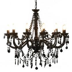 stradeXL Chandelier with Beads Black 12 x E14 Bulbs