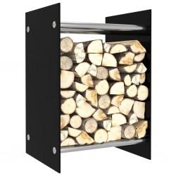 stradeXL Stojak na drewno opałowe, czarny, 40x35x60 cm, szklany