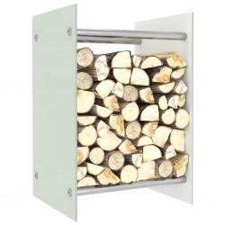 stradeXL Stojak na drewno opałowe, biały, 40x35x60 cm, szklany