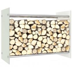 stradeXL Stojak na drewno opałowe, biały, 80x35x60 cm, szklany
