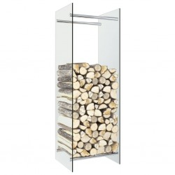 stradeXL Stojak na drewno opałowe, przezroczysty, 40x35x120 cm, szklany