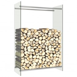 stradeXL Stojak na drewno opałowe, przezroczysty, 80x35x120 cm, szklany