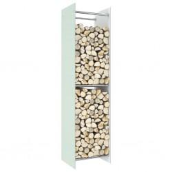 stradeXL Firewood Rack White 40x35x160 cm Glass