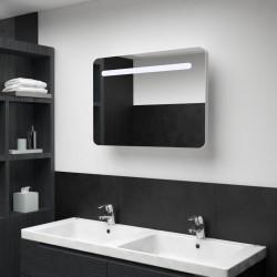 stradeXL Szafka łazienkowa z lustrem i LED, 80 x 11 x 55 cm