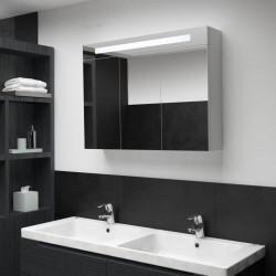 stradeXL Szafka łazienkowa z lustrem i LED, 88 x 13 x 62 cm