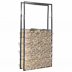 stradeXL Firewood Rack Black 100x25x200 cm Steel