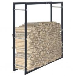 stradeXL Stojak na drewno opałowe, czarny, 100 x 25 x 100 cm, stalowy