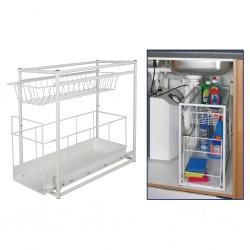 HI 2-poziomowa półka z szufladą, biała