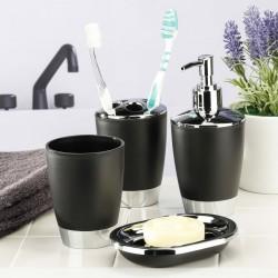 HI Zestaw 4 akcesoriów łazienkowych, czarno-srebrny
