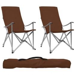 stradeXL Składane krzesła turystyczne, 2 szt., brązowe