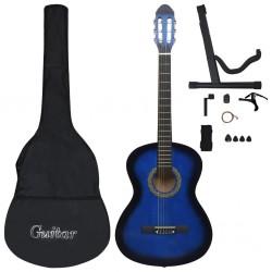 "stradeXL 12 Piece Classical Guitar Beginner Set Blue 4/4 39"""