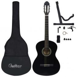 "stradeXL 12 Piece Classical Guitar Beginner Set Black 4/4 39"""