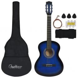 "stradeXL 8 Piece Classical Guitar Kid Beginner Set Blue 3/4 36"""