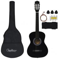 "stradeXL 8 Piece Classical Guitar Beginner Set Black 3/4 36"""