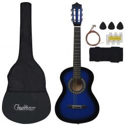 "stradeXL 8 Piece Classical Guitar Beginner Set Blue 1/2 34"""
