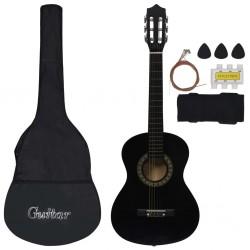 "stradeXL 8 Piece Classical Guitar Beginner Set Black 1/2 34"""