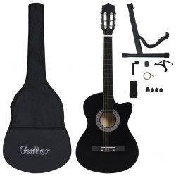 """stradeXL 12 Piece Western Acoustic Guitar Set with 6 Strings Black 38"""""""