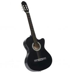 stradeXL Gitara akustyczna z wycięciem, 6 strun i equalizer, czarna