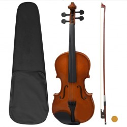 stradeXL Violin Full Set with Bow and Chin Rest Dark Wood 4/4
