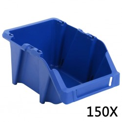 stradeXL Pojemniki sztaplowane, 150 szt., 125 x 195 x 90 mm, niebieskie