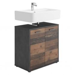 FMD Szafka pod umywalkę, 2 drzwiczek, matera, postarzane ciemne drewno