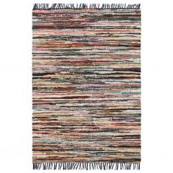 stradeXL Ręcznie tkany dywanik Chindi, skóra, 190x280 cm, wielokolorowy