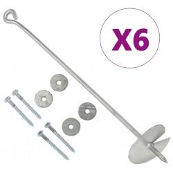 stradeXL Kotwy gruntowe, 6 szt., 10x60 cm, galwanizowany metal