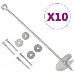 stradeXL Kotwy gruntowe, 10 szt., 10x60 cm, galwanizowany metal