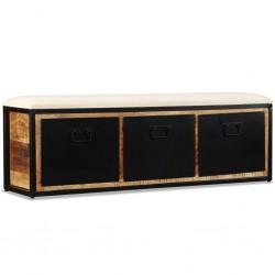 stradeXL Ławka do przechowywania, 3 szuflady, drewno mango, 120x30x40 cm
