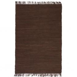 stradeXL Ręcznie tkany dywanik Chindi, bawełna, 120x170 cm, brązowy