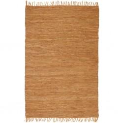 stradeXL Ręcznie tkany dywanik Chindi, skóra, 120x170 cm, jasnobrązowy