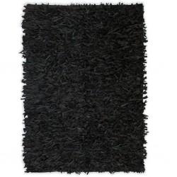 stradeXL Dywan shaggy, prawdziwa skóra, 80x160 cm, czarny