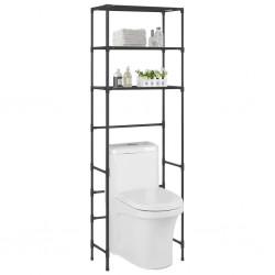 stradeXL 3-poziomowy regał nad toaletę, czarny, 53x28x169 cm