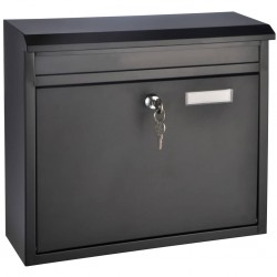 HI Skrzynka na listy, czarna, 36 x 12 x 32 cm