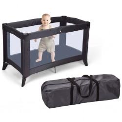 Home&Styling Składane łóżeczko dziecięce z materacem, ciemnoszare