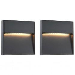 stradeXL Lampy ścienne zewnętrzne LED, 2 szt., 3 W, czarne, kwadratowe