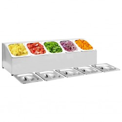 stradeXL Gastronorm Container Holder with 5 GN 1/6 Pan Stainless Steel
