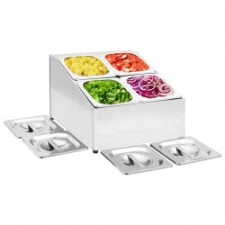 stradeXL Gastronorm Container Holder with 4 GN 1/6 Pan Stainless Steel