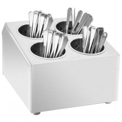 stradeXL Cutlery Holder 4 Grids Square Stainless Steel