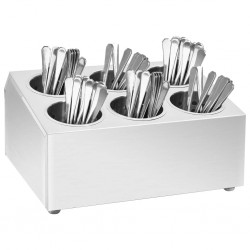 stradeXL Cutlery Holder 6 Grids Square Stainless Steel