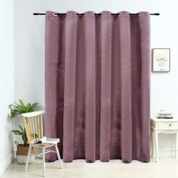 stradeXL Blackout Curtain with Metal Rings Velvet Antique Pink 290x245 cm