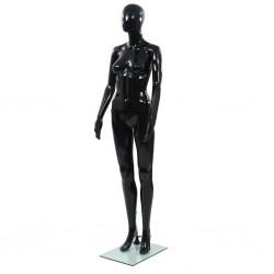 stradeXL Manekin damski ze szklaną podstawą, czarny, błyszczący, 175 cm
