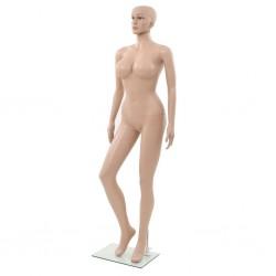 stradeXL Manekin damski ze szklaną podstawą, beżowy, 180 cm