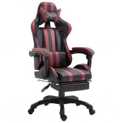 stradeXL Fotel dla gracza z podnóżkiem, czerwone wino, sztuczna skóra