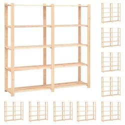 stradeXL Regały z 5 półkami, 10 szt., 170x38x170 cm, sosna, 500 kg