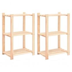 stradeXL Regały z 3 półkami, 2 szt., 60x38x90 cm, sosna, 150 kg