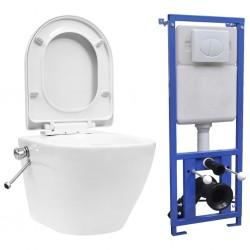 stradeXL Toaleta bezkołnierzowa ze spłuczką podtynkową, ceramika, biała